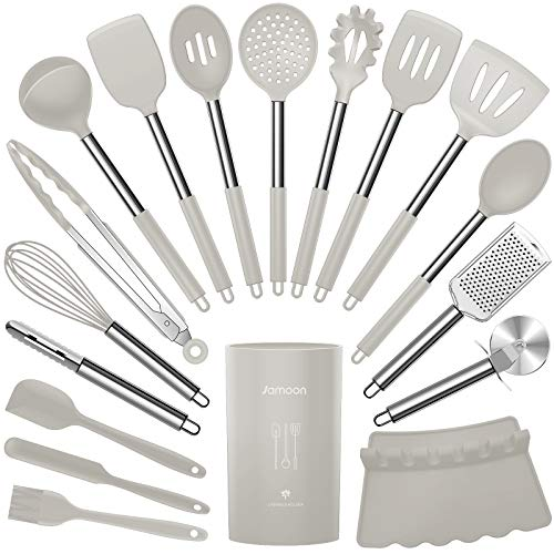 Silicone Cooking Utensils Set - Heat Resistant Kitchen Utensils,Turner Tongs,Spatula,Spoon,Brush,Whisk,Pizza Cutter,Graters.Gadgets.Khaki Cooking Utensil for Nonstick Cookware.Dishwasher Safe