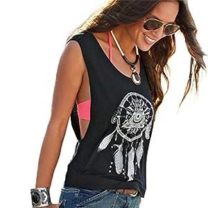 SHOBDW Womens Vest Tops, Women Sexy Fashion Dream Catcher Printed Sleeveless Summer Crop Party Tank Vest T Shirt Tee (L, Black)
