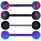 OUFER 4 PCS Stainless Steel 14G Barbell Tongue Rings Purple Black Splatter Tongue Barbell Tongue Piercing Jewelry
