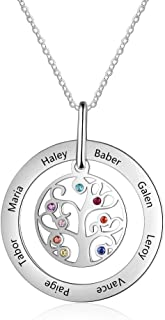 Personalized Tree of Life Mothers Necklaces for Women Family Tree Necklaces with 8 Simulated Birthstones 8 Names Pendant Necklaces for Mom Grandmother
