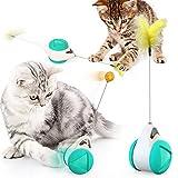 Shengrenhong - Juguete interactivo para gato, bola interactiva para gato, bola y plumas, juguete dispensador de croqueta, fácil de limpiar, juguete para gato, gato, chino y chtón; color azul