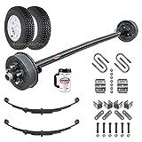 "Rockwell American 3,500 lb Electric Brake Trailer Axle w/Double Eye Springs, U-Bolts, Hanger Kit, 15"" Trailer Tires & Wheels - 89"" Hubface - 74"" Spring Center (Bolt Pattern 5x4.5)"