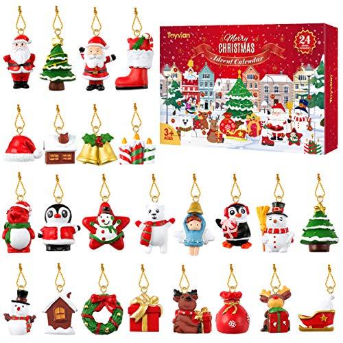 calendario adviento niños, 24 figuras de Navidad de resina en miniatura, decoración de Navidad