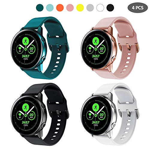 kytuwy Correa Compatible para Galaxy Watch 3 41mm Correa de Reloj 20mm Pulseras de Repuesto para Galaxy Watch Active 40mm/Active 2 44mm /Gear Sport/Gear S2 Classic/Vivoactive 3 (4 Pack)