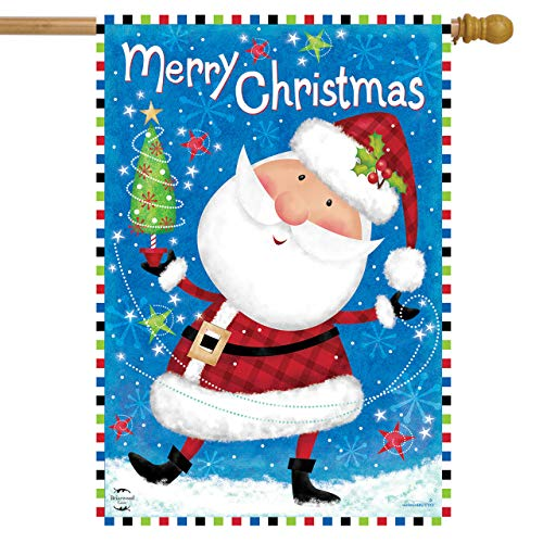 Briarwood Lane Ready for Christmas House Flag Santa Claus Primitive 28' x 40'
