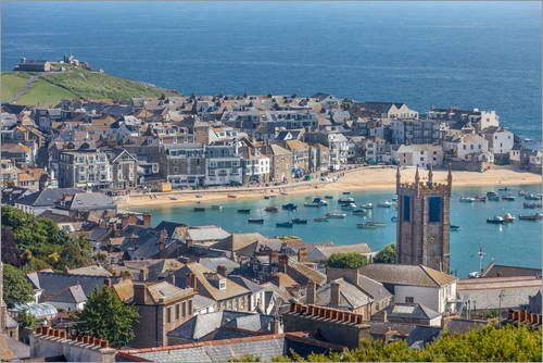Cuadro de Madera 100 x 70 cm: Overlooking St. Yves in Cornwall, Engalnd de Christian Müringer