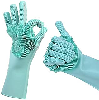 Magic Silicone Dishwashing Scrub Gloves - with Finger Grip Scrubber 2019 Updated Model 2 Sided, Heat Resistant sponge glove for Cleaning, Bathroom, Household, Car, Pet Hair; 1 Pair Green