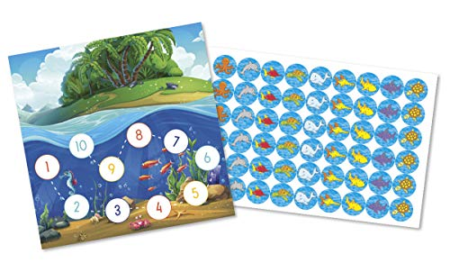 By Diana Belohnungstafel für Kinder Belohnungssystem mit Motiv Meerestiere - 2 doppelseitig Bedruckte Kärtchen + große Aufkleber mit Fischen