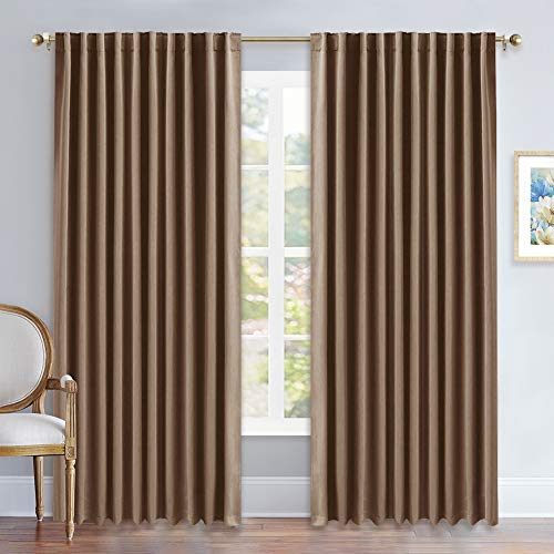 NICETOWN Blackout Curtain Panel for Living Room - (Cappuccino Color) 70 inches Wide by 84 inches Long, 2 Panels Set, Insulated Room Darkening Window Drapes