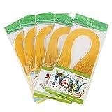 no-branded Juego de tiras de papel para filigranas, 600 tiras, colores puros, 3 x 39 cm, color amarillo oscuro