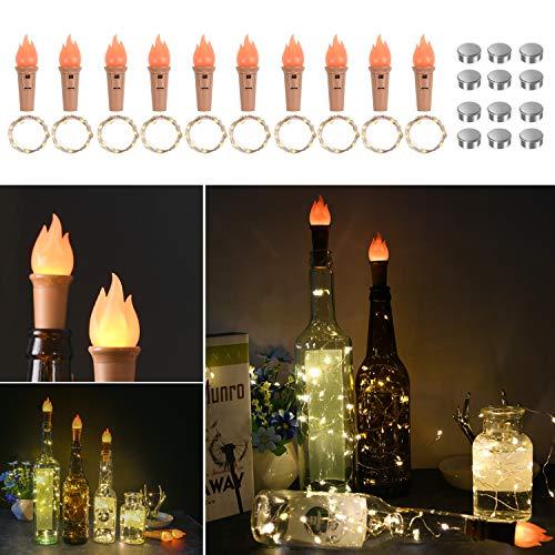 Vicloon Flaschen-Licht Warmweiß, LED Lichterketten mit Flammen Kork & Ersatzbatterie * 12, 2M 20 LEDs Wein Flasche Lichter Kork Flaschen Lichter Lichterkette für Flasche DIY, Party - 10 Stück