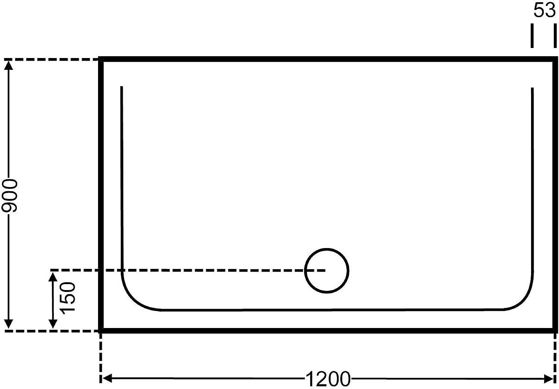 Unbekannt duschwanne wei 90x120cm x2,5cm