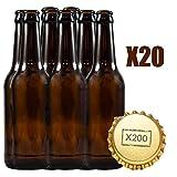 Botellas vacias de cerveza 33cl reutilizables con chapa incluidas | kit 20 botellines y 200 chapas para elaborar cervezas artesana | Pack de botella elaboracion artesanal en casa