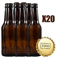 Lot de 20 bouteilles vides pour bière artisanale. 20 bouteilles de 33 cl + 200 capsules. Réutilisables pour la fabrication de bières artisanales. Les bouteilles sont de couleur marron ambre et conservent parfaitement la bière, car elles empêchent le ...
