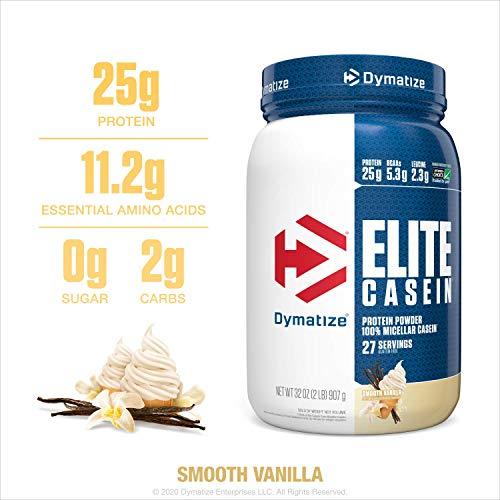 Dymatize Elite Casein Protein Powder, Slow Absorbing with Muscle Building Amino Acids, 100% Micellar Casein, 25g Protein, 5.4g BCAAs & 2.3g Leucine, Helps Overnight Recovery, Smooth Vanilla, 2 Pound