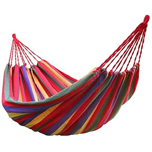 TYUIOO Hammock Rainbow Outdoor Leisure Double Collapsible Canvas Hammocks Ultralight Camping Hammock with Backpack (Color : Red)