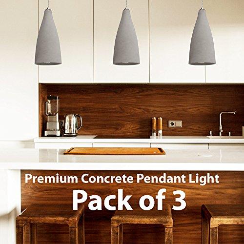 3X Beton Grau Moderne Deckenleuchte Pendelleuchte - 240V E27 - Lampenfassung Fassung - Stein Retro Dimmbar LED Industrielampenschirm - Kücheninsel, Frühstücksbar, Esstischleuchte