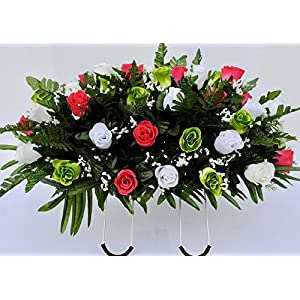 Spring Cemetery Flowers for Headstone and Grave Decoration-Pink Green and White Rose Mix Saddle