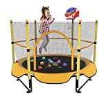 Kawuneeche 5FT Trampoline for Kids Toddler Indoor Trampoline with Safety Enclosure Net, Mini Basketball Hoop, Jumping Mat for Home Entertainment Equipment Outdoor Backyard Games (Yellow)