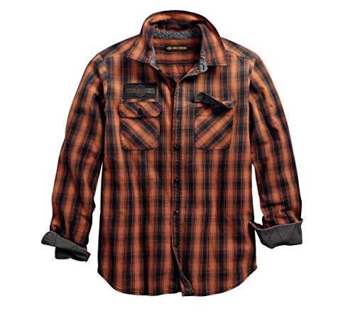 Harley-Davidson Herren Oak Leaf Plaid Slim Fit Hemd Orange/Schwarz -  mehrfarbig -  Groß
