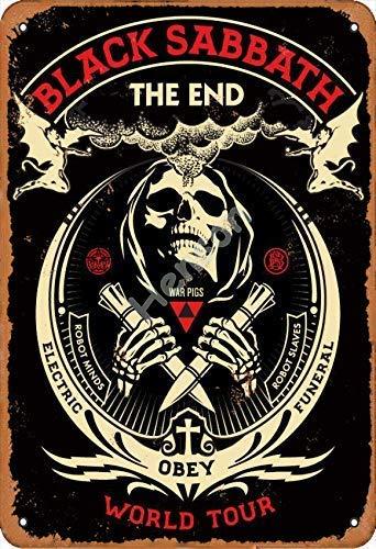 Black Sabbath The End World Tour Retro Metal Letns Vintage Look Cartel Placa de póster multiusos para bares, todo tipo de personajes individuales o decoración del hogar, 20 x 30 cm