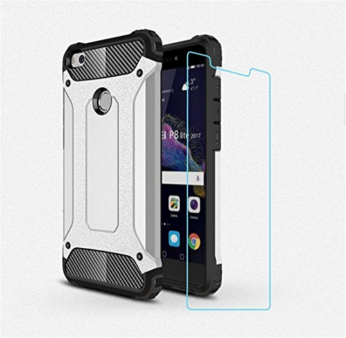 DESCHE Compatibile per Cover Huawei P8 Lite 2017, Hard PC Soft TPU 2 in 1 360 armature protettive Custodia antiurto antigraffio Cassa del telefono durevole + vetro temprato -Argento
