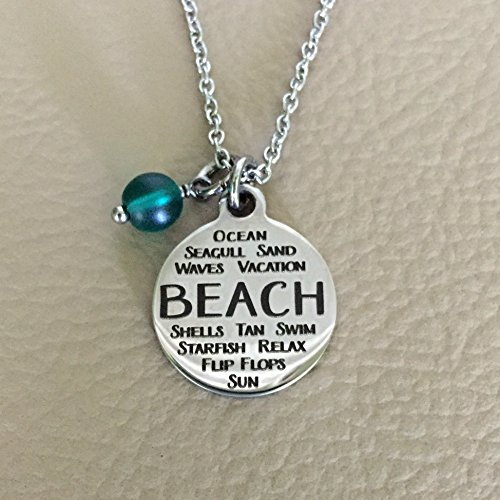 Personalized Hand Stamped Initial Birthstone Starfish Charm  Necklace Starfish Non tarnish Stainless Steel Charm Necklace