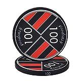 RKRXDH 25PCS / Lot Cerámica Ficha De Póker del Casino De Juegos De Chips Monedas Fichas De Casino Chips De Tarjetas De Skate 39x3mm Fichas De Póquer (Color : 100)
