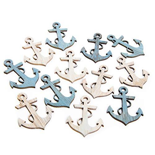 Logbuch-Verlag 12 pequeñas anclas de madera para espolvorear – Decoración marítima – Símbolo amor esperanza – Color azul natural 5,5 cm