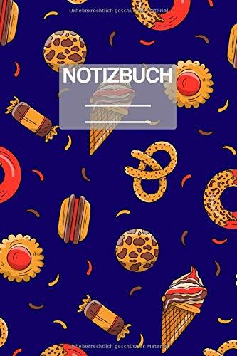 Notizbuch A5 Muster Süssiegkeiten Eis Bonbons Brezel Burger: • 111 Seiten • EXTRA Kalender 2020 • Einzigartig • Liniert • Linie • Linien • Geschenk • Geschenkidee