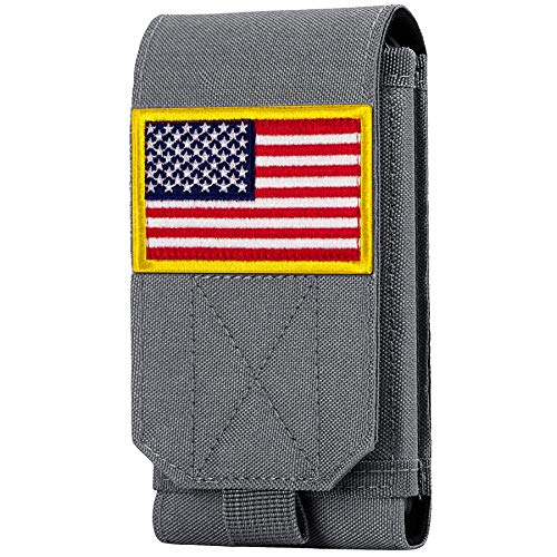 IronSeals Taktische Molle Handyhülle, Heavy Duty Loop Gürtel Holster Tasche mit Flag Patch für iPhone 12 Pro Max/12 Pro/12/11 Pro Max/XS Max/XR/X/8P, Samsung S20/S10/S10e/S9+/S9 (Grau #2)