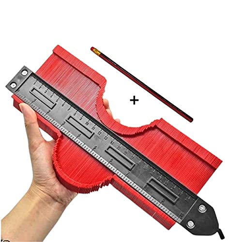 Jauge de contour plastique avec blocage | Copieur Forme Rouge 250MM | Précision Pratique Multiformes | BONUS : Crayon à Papier | Epouse Les Formes De L
