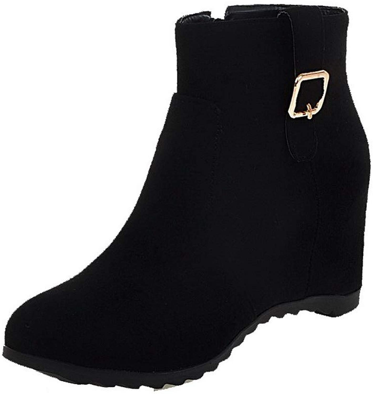 WeenFashion Women's Kitten-Heels Solid Closed-Toe Frosted Zipper Boots, AMGXW043141