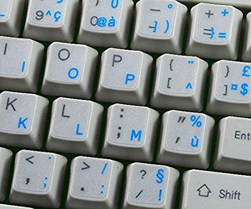 Qwerty Keys Frans Transparant Toetsenbord Stickers Voor Laptop of PC Computer - Kies Uw Favoriete Kleur Blauw