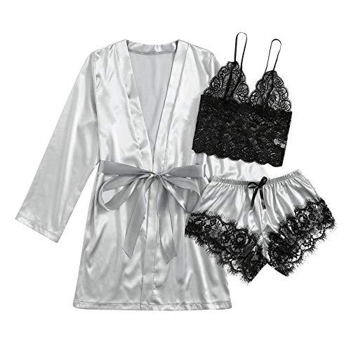 DiaRom Pyjamas Set Damen Kurze Sexy Nachtwäsche Sling Lace Pyjama Set Loungewear Anzug Satin ärmellose Schlafanzug Kimono Nachthemd Negligee Dessous Sling Bequeme Freizeit Home Dessous Wäsche Set