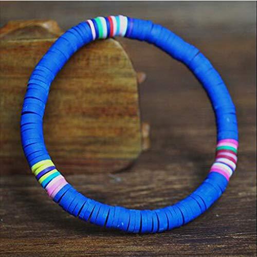 Rongzou Bohemio Colorido Arcilla Con Cuentas Elástico Pulsera De Arcilla Polímero Perlas De Pulsera