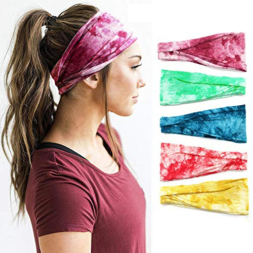 V-Shine Set of 5 Sports Headbands, Women's Yoga Sport Headbands, Running Fitness Sweat-Absorbent Band antiperspirant Printed Wide-Brimmed Headbands,for Sports Exercise Tennis Outdoor