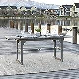 Walker Edison Maui Modern Solid Acacia Wood Slatted Patio Dining Table, 78 Inch, Grey Wash