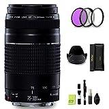GYTE Bundle | Objetivo Canon - EF 75-300 mm f/4-5,6 III - Lente Telezoom para Cámara Reflex Digital + Kit de Filtro de 3 Piezas + Juego de Limpieza | Paquete de Accesorios Premium