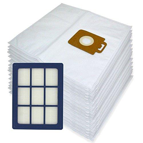 Spares2go Sacs d'Chiffon de nettoyage en microfibre + H12 Filtre HEPA pour Nilfisk Power P40 + Allergy Aspirateur (lot de 15 + cartouche de filtre)