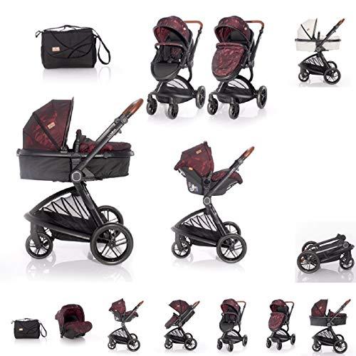 Lorelli Kinderwagen Set Lumina 3 in 1 Alu-Rahmen Autositz Sitzeinheit umkehrbar, Farbe:rot