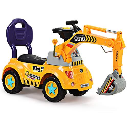 RELAX4LIFE Ruspa Giocattolo Cavalcabile per Bambini, Escavatore di Sabbia da Gioco per Bambini da 3-5 Anni, Giocattolo Macchina Escavatore con Braccio Movibile ed Accessori, Giocattolo da Spiaggia