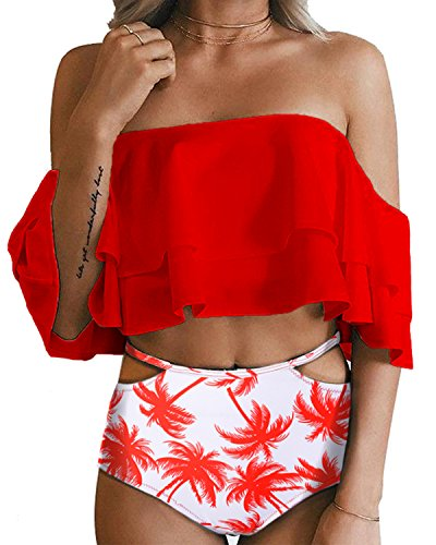 Tempt Me Women Two Piece Swimsuit High Waisted Ruffled Flounce Bikini Red Tree L