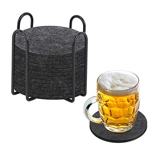 Fittoway, sottobicchieri rotondi in feltro per bicchieri, set da 12 pezzi, con supporto in metallo, per bevande, tavolo, tazze, bar, vetro, grigio scuro