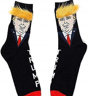 LQMILK, Calcetines Trump, Divertidos calcetines unisex del presidente Donald Trump con calcetines de pelo sintético en 3D, calcetines de skate de hip hop, calcetines estampados de dibujos animados lindos