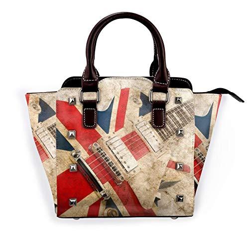 Vintage Guitar British Flag Women'S Rivet Shoulder Bag Large Capacity Handbags Crossbody Satchel Bag With Shoulder Strap Adjustable Handle