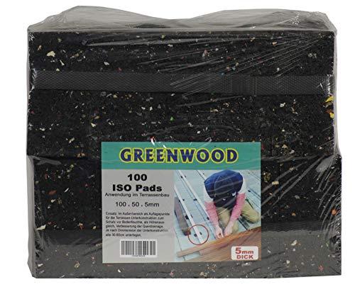 HPS® 100 pièces 5 mm – gummipad, terrassenpad, 10 x 5 cm, mélange de caoutchouc pour la construction Terrasses. Haute Qualité comme tapis en granulés de caoutchouc pour des constructions
