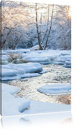 Bach in Winterlandschaft, Format: 100x70 auf Leinwand, XXL riesige Bilder fertig gerahmt mit Keilrahmen, Kunstdruck auf Wandbild mit Rahmen, günstiger als Gemälde oder Ölbild, kein Poster oder Plakat