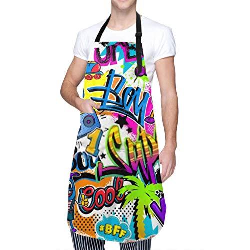 ZANSENG Unisex Schürze, wasserdicht langlebig verstellbar abstrakt nahtlos Comics Muster Palme Kochschürzen Lustige Schürzen zum Geschirrspülen Grill Grill Garten