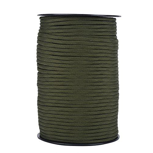 Dilwe Fallschirm Schnur, 550 Reflektierende Farben 9 Strangkern 100m Paracord Seile für Survival Camping Climbing(Armee-grün)